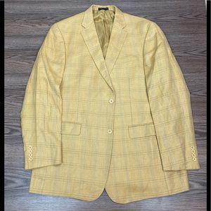 Tommy Hilfiger Gold Plaid Silk Sport Coat 44L
